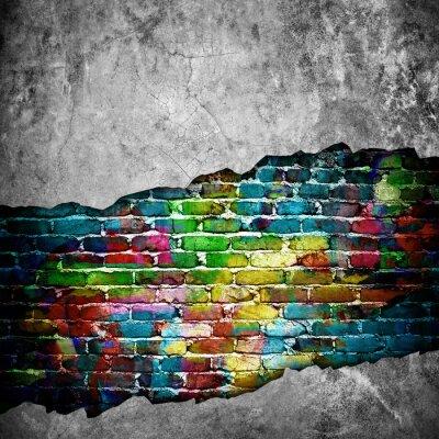 Sticker cracked brick wall