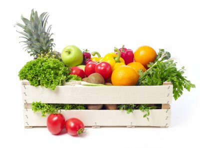Sticker Crate with fruits and vegetable