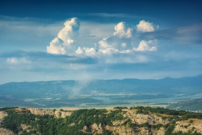 Sticker Crimea mountain valley with beautiful clouds in a sky