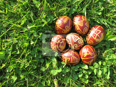 Sticker Croatian traditional Easter eggs on green grass