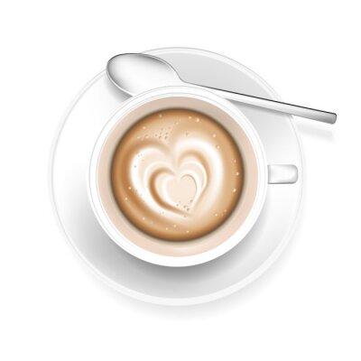 Sticker Cup of coffee with heart shape in foam