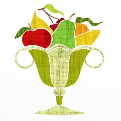 Sticker cup with fruit