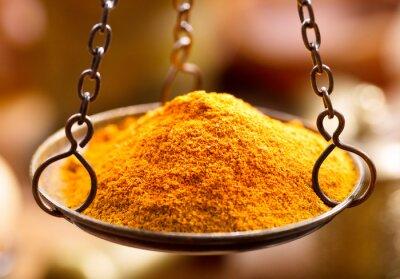 Sticker curry spice powder in bowl weights