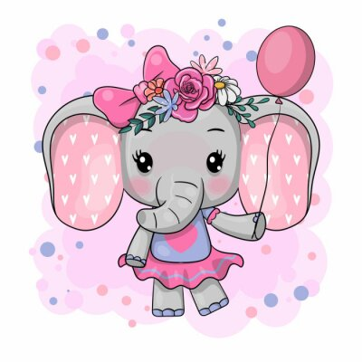 Sticker Cute Cartoon Elephant with flowers on a white background