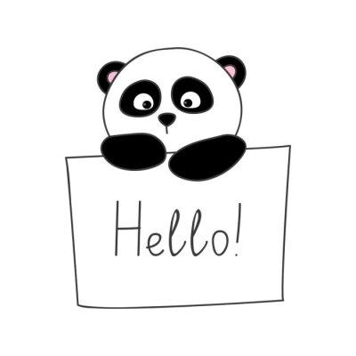 Sticker Cute cartoon panda isolated on white