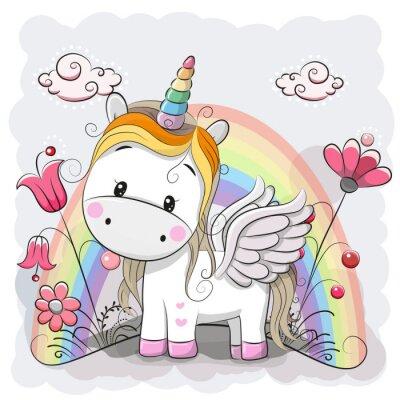 Sticker Cute Cartoon Unicorn on the meadow