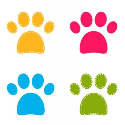 Sticker Cute colorful Doggie Paws isolated on white