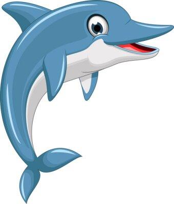Sticker cute dolphin cartoon jumping