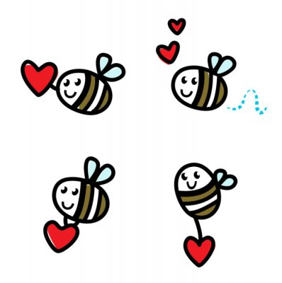 Sticker Cute flying doodle bee set with Valentine's red heart  isolated