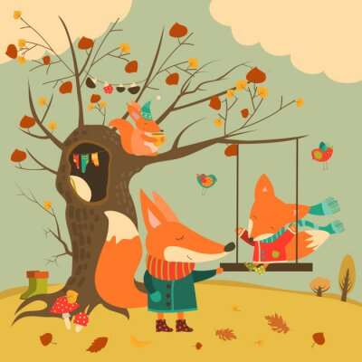 Sticker Cute foxes ride on a swing in the autumn forest