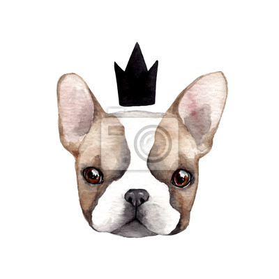 Sticker Cute french bulldog with crown.