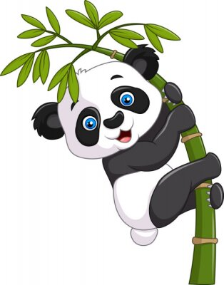 Sticker Cute funny baby panda hanging on a bamboo tree