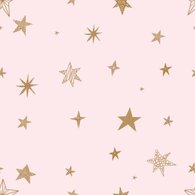 Sticker Cute gold stars. Seamless vector pattern. Seamless pattern can be used for wallpaper, pattern fills, web page background, surface textures.