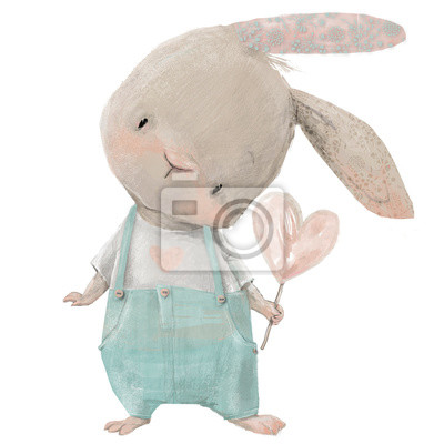 Sticker cute hare with heart in hand