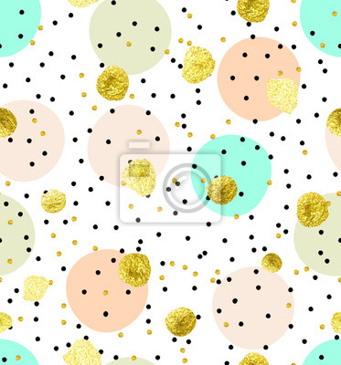 Sticker Cute kids polka dot colorful seamless vector pattern with glittering gold and solid pastel shades pink, green and beige dots and circles on solid white background.