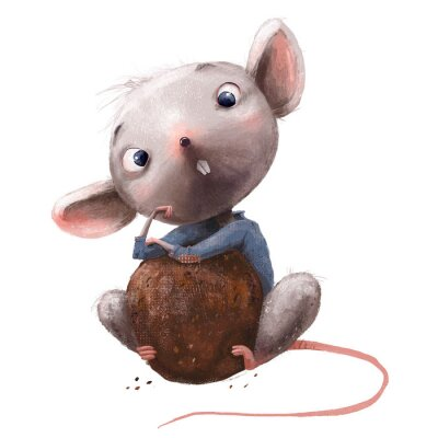 Sticker cute little mouse with chocolate