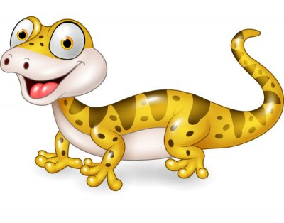 Sticker Cute lizard posing isolated on white background