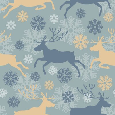 Sticker Cute Merry Christmas seamless pattern with reindeers and snowflakes. Vintage vector illustration.