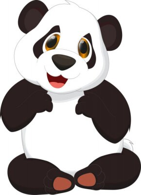 Sticker cute panda cartoon