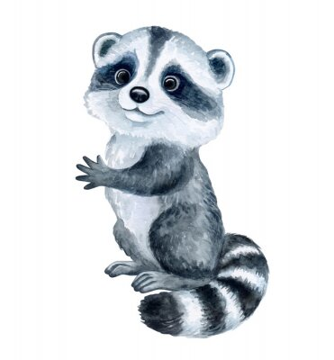 Sticker Cute Raccoon cartoon isolated on white background. Watercolor. Illustration. Template. Hand drawing. Clipart. Close-up. Hand painted
