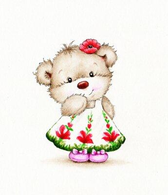 Sticker Cute Teddy bear girl