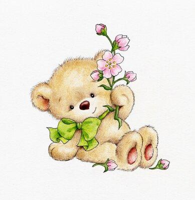 Sticker Cute Teddy bear with flowers