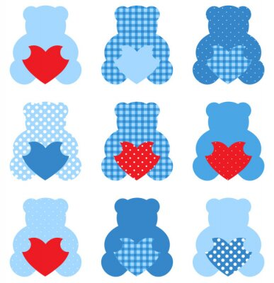Sticker Cute Teddy Bear with hearts set isolated on white ( blue & red )
