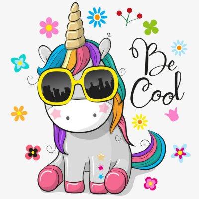 Sticker Cute unicorn with sun glasses