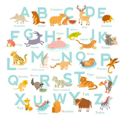 Sticker Cute vector zoo alphabet. Funny cartoon animals. Vector Illustration EPS10 isolated on white background. Letters. Learn to read