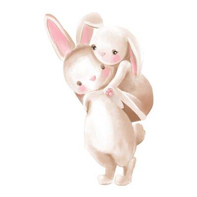 Sticker Cute watercolor baby boy and girl bunnies hugs