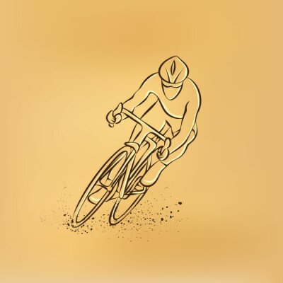 Sticker Cycling race. Front view. Vector retro drawing illustration.
