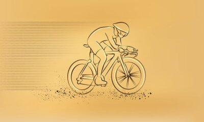 Sticker Cycling race. Vector retro drawing illustration.