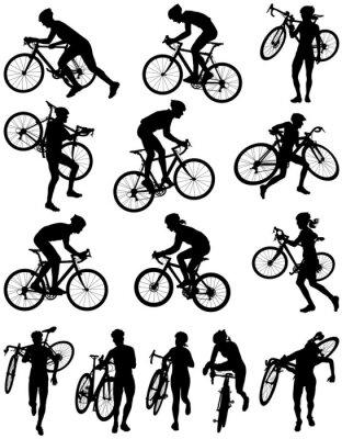 Sticker Cyclocross racing vector silhouette