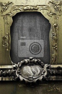 damaged metal frame with ornaments
