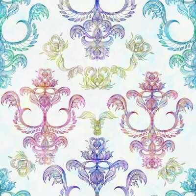 Sticker Damask seamless floral pattern. Royal wallpaper. Flowers on a rose background. EPS 10