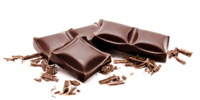 Sticker Dark chocolate bars stack with crumbs isolated on a white
