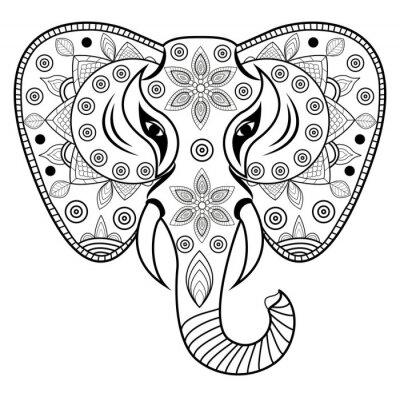 Sticker Decorated elephant's head vector, testa di elefante decorato vettoriale isolato su sfondo bianco