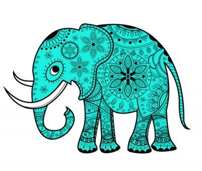 Sticker Decorated vector elephant, elefante vettoriale decorato
