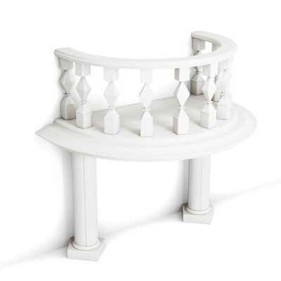Sticker Decorative balcony with columns isolated on white background. 3d rendering.