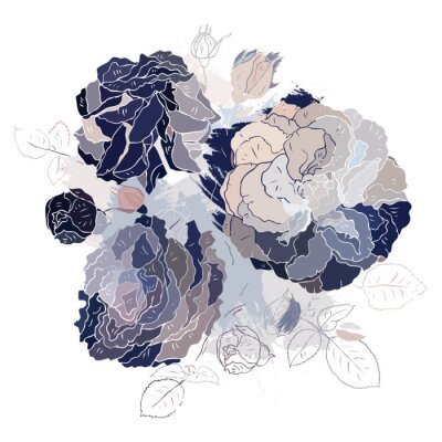 Sticker Decorative floral background.