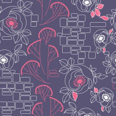 Sticker decorative seamless pattern with roses