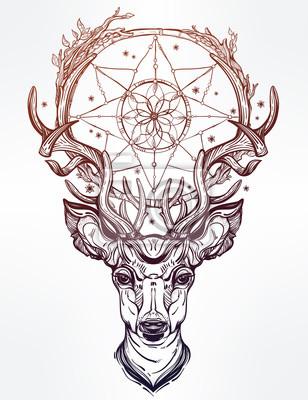 Sticker Deer head and dream catcher.