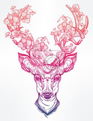 Sticker Deer head with flowers  in line art style.