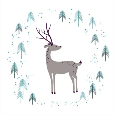 Sticker Deer in winter pine forest isolated on white.