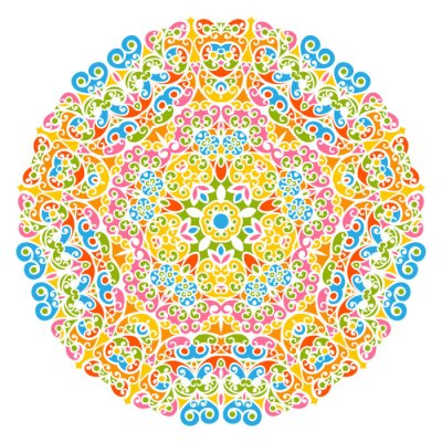 Sticker Dekoratives Vektor Element - buntes, florales und abstraktes Mandala Muster, isoliert auf weißem Hintergrund. Colorful Abstract Decorative Pattern - Ornate Motif with Design Elements - Backgrounds.