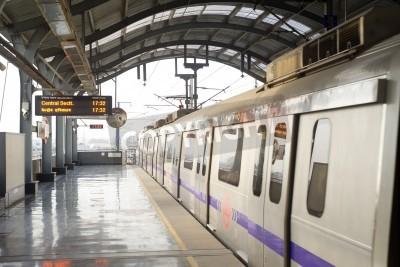 Sticker Delhi, India -  March 03, 2012: Delhi Metro station  in Delhi. Delhi Metro network consists of six lines with a total length of 189.63 kilometres (117.83 mi) with 142 stations