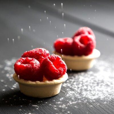 Sticker delicious dessert tarts with fresh raspberries