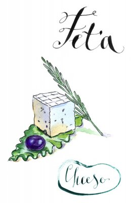 Sticker Delicious sliced Greek feta cheese with olive, rosemary and sala