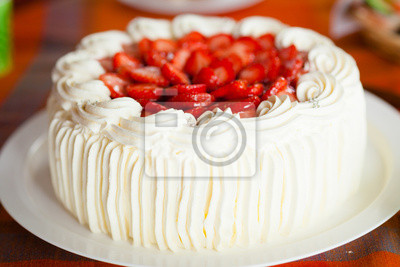 Sticker Delicious strawberry cake with strawberries and whipped cream