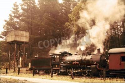 Sticker Departing steam train in sepia colours